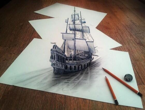 えっ、これ鉛筆だけで書いたの?! #船 #帆船