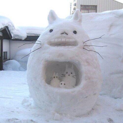 雪だるまととろつくった #トトロ #となりのトトロ #ジブリ